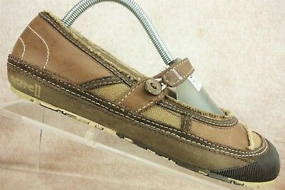 b784a6cf77f6 Merrell Brown Leather Mary Jane Casual Ballet Flats Comfort Shoes Women s  Size 9