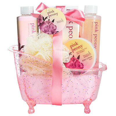 Pink Peony Spa Bath Gift Basket  Bubble Bath & More Mothers Day Gifts for Women