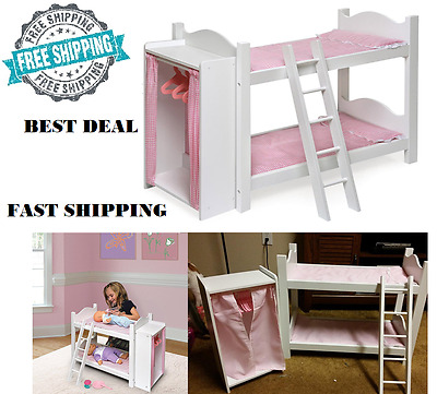 New Beds Wood For 18 Inch Doll Furniture American Girl Bunk Bed