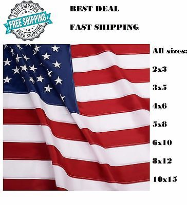 2x3 3x5 4x6 5x8 6x10 8x12 10x15 American Flag Stars Embroidered Stripes Grommets