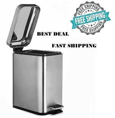 Trash Can Garbage Container Basket With Step Foot Bathroom Kitchen Waste Bin 5L