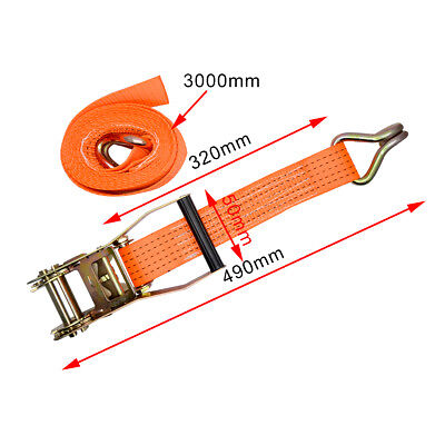 Trailer Car Transporter Recovery Ratchet Straps Orange - Set of 4 - Alloy Wheel