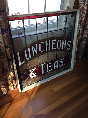"""Antique Advertising Sign Tea Shoppe Stained Glass Window 1890's 36"""" X 36"""" Rare!"""