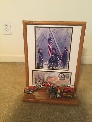 Orange County Choppers OCC Fire Bike Die Cast Signed Wall Hanging Wooden Framed