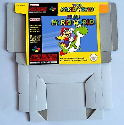 Super Mario World - repro box with insert -  PAL or NTSC - SNES/ Super Nintendo.