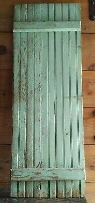 "Wood Cabinet Door Green OLD hardware Vintage Distressed WOOD Cupboard Door 44""L"
