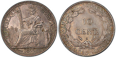 FRENCH INDO-CHINA 1899-A AR 10 Cents PCGS MS63 Paris Lecompte 141.