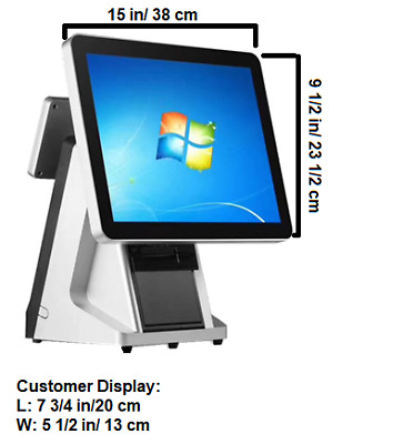 Windows 15 inch all in one dual touch screen POS terminal/all in one POS system
