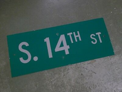 "Vintage Original 1S. 4TH ST Street Sign 30"" X 12"" White Lettering on Green"