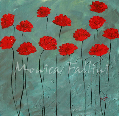 Oil painting red Poppies palette knife impasto 22 x 22 inches by Fallini