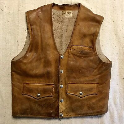 1970s Vintage Leather & Faux Shearling Western Snap Vest Jacket Waistcoat 38 Med