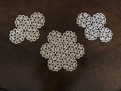 Greek Doilies, Hand Made in Cyprus, Set of 3, Vintage 1970's, FREE SHIPPING