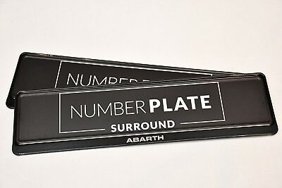 2 x TOP BLACK STAINLESS STEEL NUMBER PLATE SURROUND HOLDER - FOR ABARTH