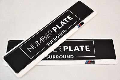 2 x TOP WHITE STAINLESS STEEL NUMBER PLATE SURROUND HOLDER - FOR BMW M2 M3 M4 M5