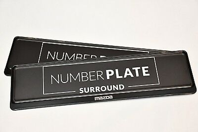 2 x TOP BLACK STAINLESS STEEL NUMBER PLATE SURROUND HOLDER - FOR MAZDA