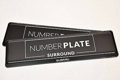 2 x TOP BLACK STAINLESS STEEL NUMBER PLATE SURROUND HOLDER - FOR SUBARU