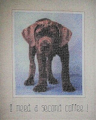 "Finished unframed Counted Cross Stitch Sleepy Puppy 11"" x14"""
