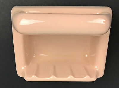 Vintage Ceramic Pink Brown tone Wall Mounted Soap Holder NOS Japan