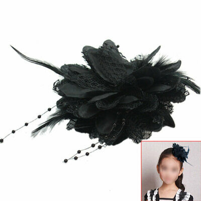 Bridal Feather Bead Wrist Flower Corsage Hair Clip Hairband Pin Brooch Black 3 1
