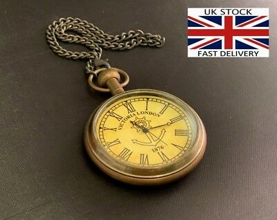 Pocket Watch Victoria London Antique Brass Nautical Collectible Vintage Clock