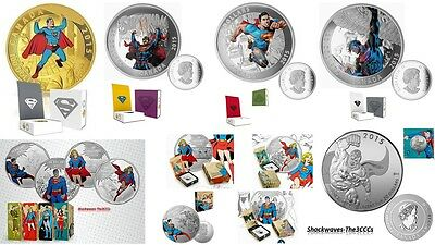 2015 SUPERMAN Gold & Silver Coins: 2015 COMPLETE 9 Coin Set  -  SALE 10%