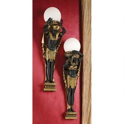 "28"" Egyptian Royalty Style Illuminated Wall Sculptures Lamp (Set Of Two)"