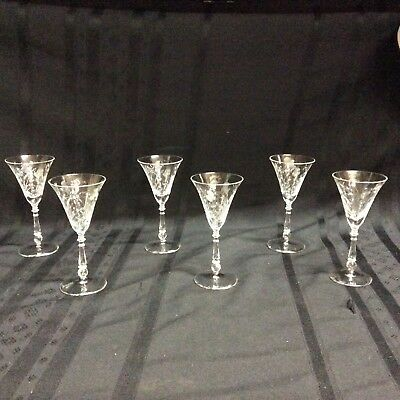 Vintage, clear,etched crystal glass cordials with stems; 6 glasses.   ( H 6 )