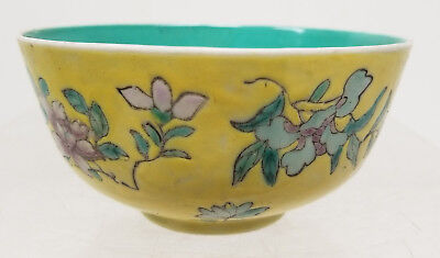 Antique Chinese Famille Jaune Rose Enamel Painted Floral Bowl Turquoise