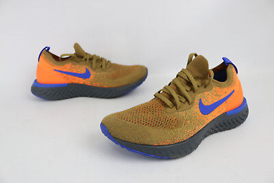 4edff3c09758 NEW NIKE EPIC REACT FLYKNIT SIZE 7.5 AV8068 200 Golden Beige Orange Racer  Blue