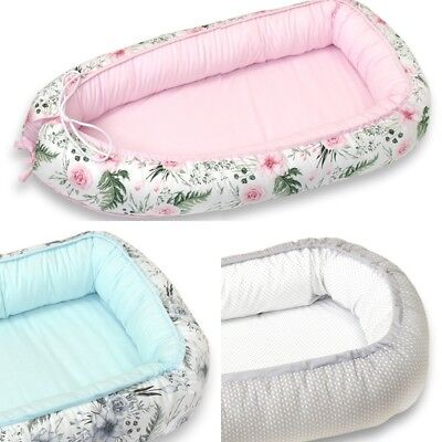 Baby Pod Nest 0-6 Months Cosy Cocoon Bed Travel Cot Pink Grey Mint Rose Garden