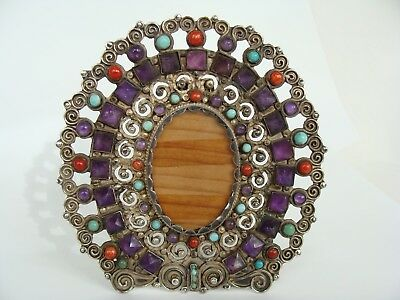 vintage Mexican Sterling Silver Amethyst Turquoise Photo Picture Frame Matl era