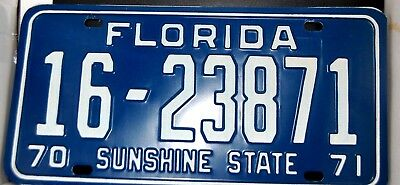 1970-71 Florida License Plate -Mint-Never Issued