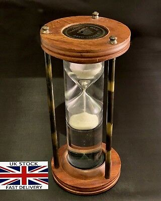 Antique Nautical Marine Royal Navy Liquid Floating Brass Sand Timer Hourglass
