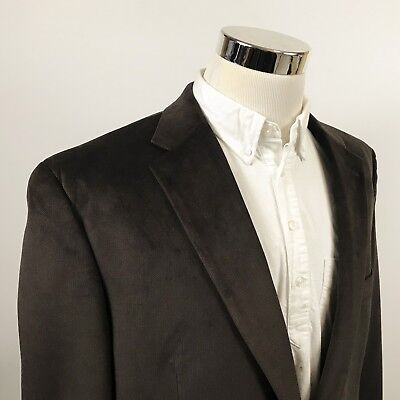 Chaps Mens 46L Sport Coat Dark Brown Herringbone Two Button Single Vent Poly