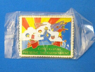 RARE FIND!! - Vintage 1974 Peter Max Postal Pin - EXPO '74 - SEALED! - 10c Stamp