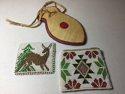 Vintage Native American Handmade Coin Purses And Cinch Bag Real Suede/leather