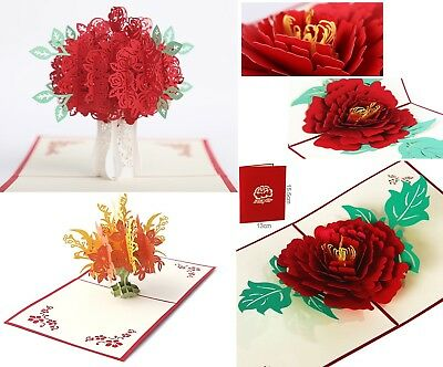 3D Pop Up Card Flower Bouquet Rose New Greeting Cards. Ships from USA Fast Free!