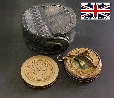 Antique Brass Pocket Sundial Navigation Compass Nautical Marine In Leather Case