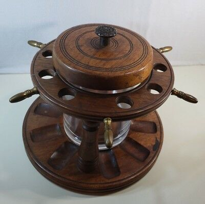 Vintage Nautical/Captain's Wheel Glass Humidor and Wooden Pipe Rack