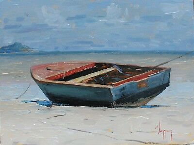 marine art oil painting fishing boat seashore original art by artist 9x12 signed