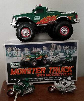 NOS 2007 Hess Toy Monster Truck w/Motorcycles Flames Lights Sounds -  NIB