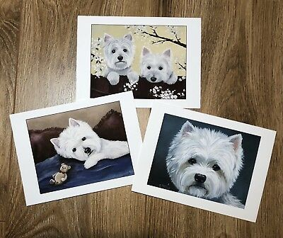 West Highland Terrier WESTIE PRINT from Painting art Dog NOTE CARDS
