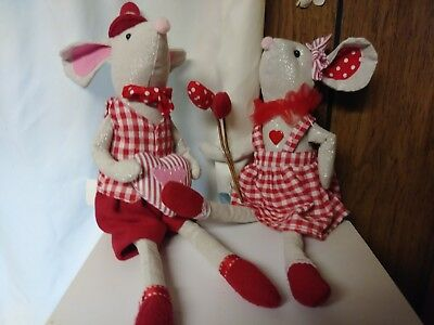 "Valentine's Day Fabric Mice Shelf Sitters 14.5"" Set of 2"