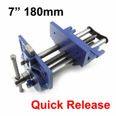 "7""  Quick Release Woodworking Vise Open 8-1/4"" Double Guided Gray Cast Iron"