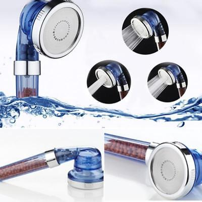 High Pressure Water Saving Shower Head Ionic Handheld Filtration 3 Control Mode