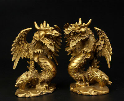 a pair Chinese handwork brass cooper-plating hand-carved zodiac dragon statue RN
