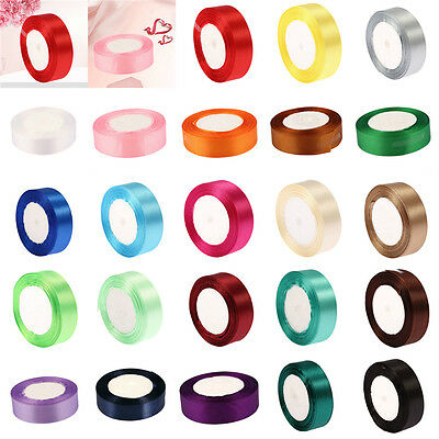 25 Yds Length DIY Colorful Double-faced Ribbon for Wedding Party Craft Satin Hot