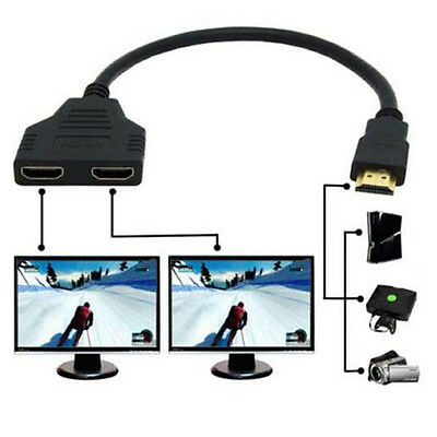 HDMI 1 Male To Dual HDMI 2 Female Y Splitter Cable Adapter HD1080P LED LCD TV TR