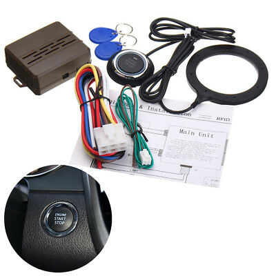 Auto Car Alarm Engine Push Button Start Stop RFID Ignition Switch Keyless Entry