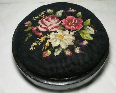 Antique Black Floral Needlepoint Foot Stool Wooden Base - Footstool, Footed